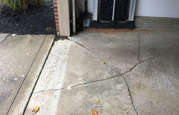 Gaps and cracks in the concrete